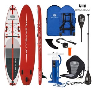 Brunelli Premium SUP Stand up Paddle Board in rot weiß 12.0 Monster 365cm
